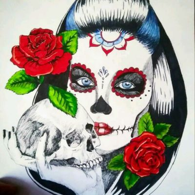 #catrina #mexican #neotraditional #neotraditionaltattoo #girl #rose #skull #blue #green #tattoo #ink