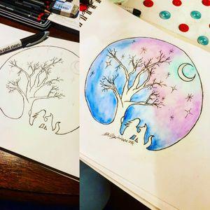 #watercolortattoo #watercolor #watercolortattoos #watercolorartist #watercolorartist #watercolortattooartist #night #bestfriend #bestfriendtattoo