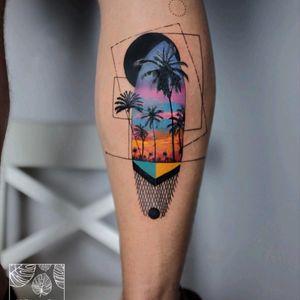 By #gullsahkaraca #surfboard  #palmtree #geometric #sunset