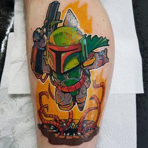Boba fett star wars tattooed by Phoenix Blaze #phoenixblaze #tattoo #newschool #starwars #starwarstattoo #disney #bobafett #bobafetttattoo #tattoooftheday