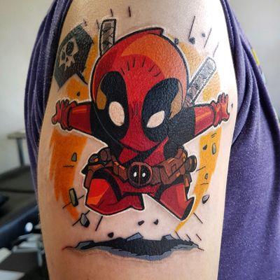 Another Deadpool I tattooed #phoenixblaze #deadpool #deadpooltattoo #newschool #newschooltattoo #marvel #marveltattoo #tattoooftheday #chibi #colourisbetter #colourtattoo #superhero #superherotattoo