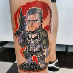 Punisher tattooed by Phoenix #phoenixblaze #punisher #dc #marvel #superhero #thepunisher #tattoo #newschool #cartoon
