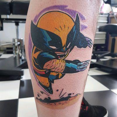 Wolverine tattooed by Phoenix #phoenixblaze #wolverine #xmen #marvel #newschool #wolverinetattoo #tattoo #cartoon #chibi
