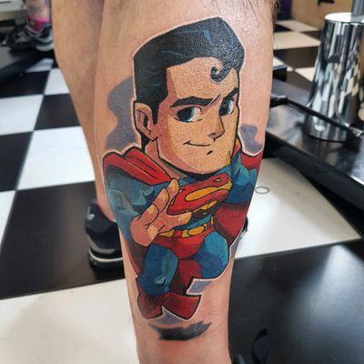 Superman tattooed by phoenix #superman #tattoo #dc #newschool #manofsteel #superhero