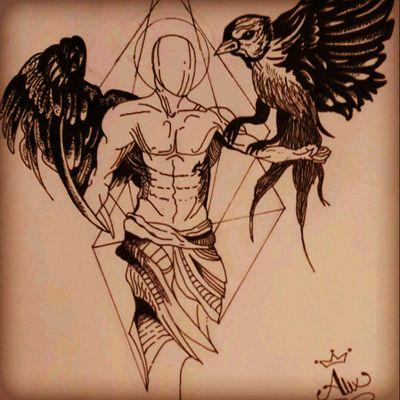 #blackwork #chile #byAlexxorcista378 #birdman #angel #geometric #fineline