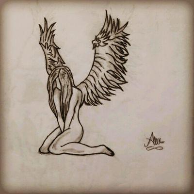 #chile #blackandgrey #byAlexxorcista378 #angel #blackwork #woman #wings #celestial