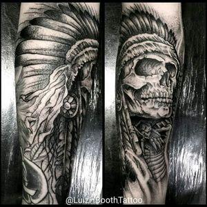 #skull #caveira #indianskull #indio #indigena #black #pontilhismo #blackwork #cocar #luizbooth #luizhbooth