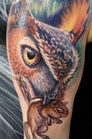 #photorealism #fullcolor #animal #owl #predator #prey #chipmunk #feathers