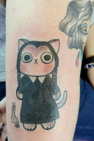 Wednesday Addams Kitten #tattoo #welove #AddamsFamily #wednesdayaddams