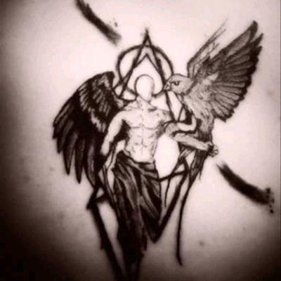 #tattoo #tattooart #Odin #geometric #blackandgrey #rebellizmtattoo #wing