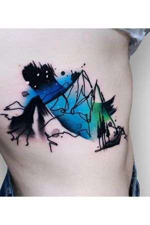 By #SyzmonGdowicz #mountains #landscape #painting #colortattoo #abstract