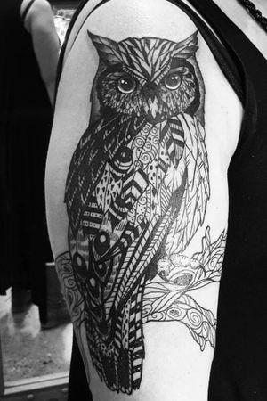 Patchwork owl for this lovely lady.  #patchwork #owltattoo #owl #customdesign #originaldesign #tribal #naturetattoo #birdtattoo #tattooideasforwomen