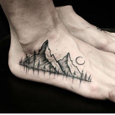 By #ThomasEckeard #mountains #landscape #trees #blackwork #dotwork #foot