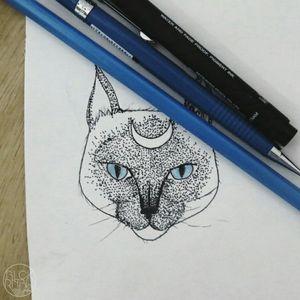 Siamês #cat #sketchtattoo #pontillism #blueink