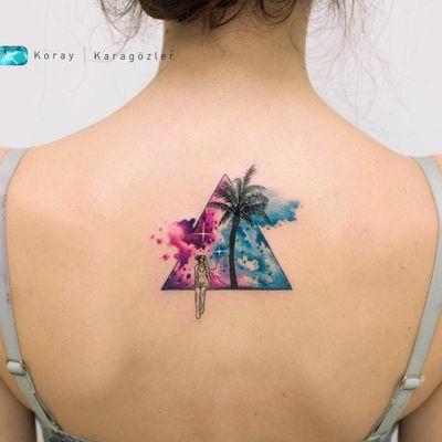 By #koraykaragozler Sound of nature #watercolor #palmtree #music #nature #triangle