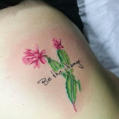 Full color flowers #floraltattoo #colortattoo #cactus #fullcolor #solidink #fusionink