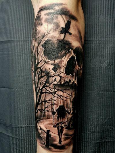 Spooky skullage tattooed by @phoenix_blaze #tattoo #spooky #skulltattoo #skull #skulls #haunting #nightmare #strange #blackwork #blackandgray #trees