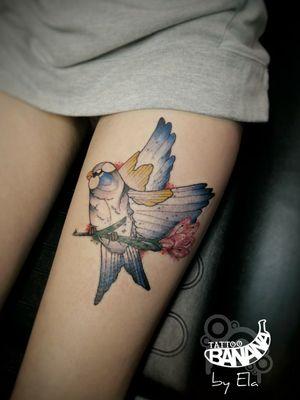 Bird tattoo By Ela. #tattoobanana #tattoo #tattoos #tatts #tattooed #tattooart #tattooartist #tattooist #bodyart #inked #thurles #ink #tatuaze #tatuaje #worldfamousink #sabretattoosupplies #irelandtattoostudio #tattooshop #tattooprime #easytattoo_uk #neotraditionaltattoo #birdtattoo #tighttattoo