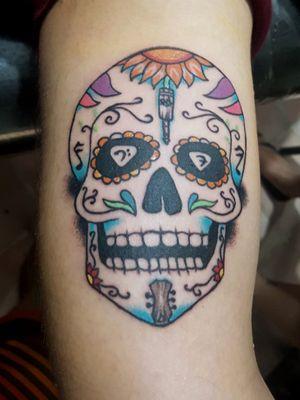 #sugarskull #sugarskulltattoo #musictattoo #skull #mexican