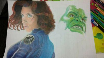 Borning Black Widow and Hulk! #blackwidow #hulk #avengers #draw #drawing #zentattoo