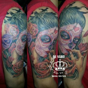 Day of the dead tattoo INFIERNO DE NADIE Queens NY