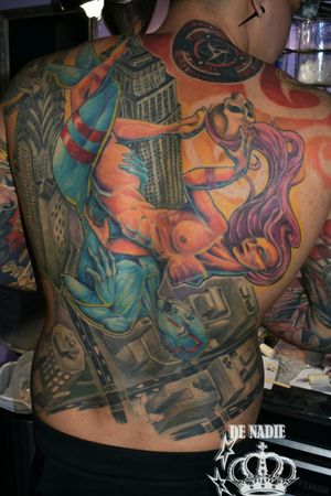Back tattoo Queens NY INFIERNO DE NADIE