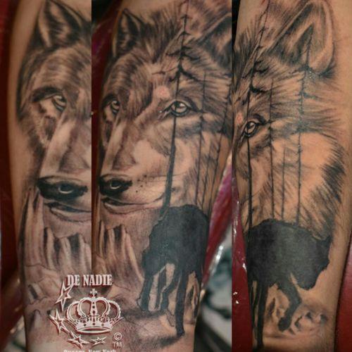 Wolf tattoo INFIERNO DE NADIE Queens NY