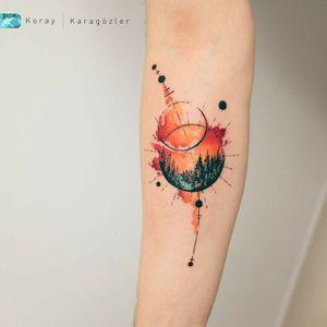 By #koraykaragozler  #watercolor #planets #sunset