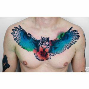 By #SyzmonGdowicz #owl #bird #chestpiece #colortattoo