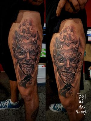 Satán tattoo by Byron Zúñiga  #guatemala #royalpaintattoo #tattoo #blackandgreytattoo