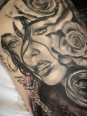 #portrait #realism #realistic #blackandgreytattoo #rose @ilaria_carta