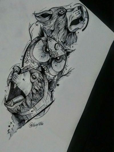 Mais um desenho autoral, estudo de blackwork no papel! ✍️ #blackwork #ink #fortattoo #blackworksubmission #bear #beartattoo #darkdraw #drawing #illustration #artist #art