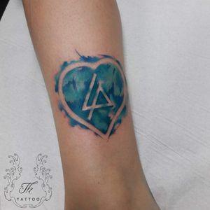 Tatuaje watercolor/ Linkin park logo for a fan in Germany. #tatoooftheday #LinkinPark #musictattoo #hearttattoo #tatuaje #tatuajebucuresti #salontatuajebucuresti #thtattoo