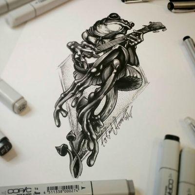 Тату эскиз - На Банджо. Эскиз нарисован маркерами Copic и лайнерами Superior. Студия художественной татуировки и пирсинга Evolution. Тату мастер Вадим. www.evotattoo.ru. Тел./WhatsApp: 8(925)5143553. #tattoo #tattoos #frog #frog_tattoos #toad #mashroom #toad_tattoo #illustration #art #sketchbook #sketch #painting #drawing #тату #тату_эскизы #жаба #грибы #банджо #жаба_и_банджо #эскизы_для_тату #тату_жаба #тату_студия #иллюстрации #рисунки #цдх #арт #дизайны #скетчи #тату_мастер_вадим @tat2atom