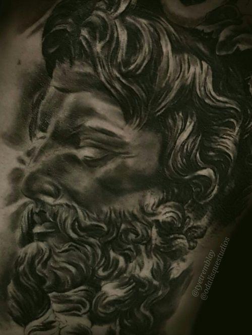 #zeus #zeustattoo #greekmythology #greekgod #inprogess #blackandgrey #realism