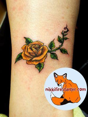 Yellow rose on lower calf. http://nikkifirestarter.com #rose #tattoos #rosetattoo #colortattoo #friendtattoos #smalltattoos #femininetattoos #flowertattoos #floraltattoos #apprentice #apprenticeship #apprenticeartist #apprenticetattoos #tattooapprentice #ink #colorink #yellowrose