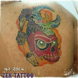 Zen Tattoo - Desenho exclusivo New School. #zentattoo #oblogdozen #mrrock #taquaritinga #taqua #inked #instattoo #tatuaggio #eletricink #everlastcolors #inklovers #newschool #caveira #skull #corvo #crow #lua #moon #tattoo #tatuaje #instattoo #tatouage #instattoo #inspirationtattoo #inklife #tattoomasters #inklovers