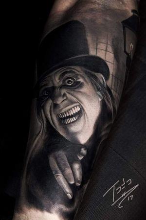 LON Chaney London after Midnight #realismtattoo #tattoorealistic #blackandgreytattoo #horrortattoo #portraittattoo