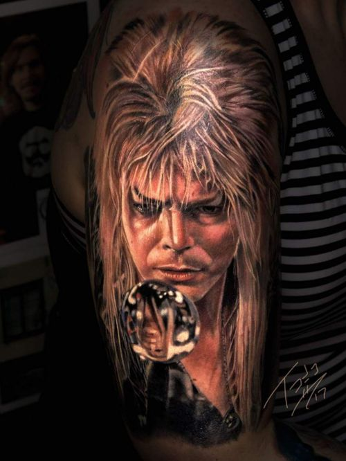 Finished up JARETH #realismtattoo #tattoorealistic #portraittattoo #portrait