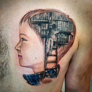 Realistic tattoo I did for a good friend. Man reaching up on a ladder to the library in the kid head. Follow me 👉 @alexandrerodrigues_t2 #colortattoo #realistictattoo #Library #kid #child #head #ladder #tattoooftheday #