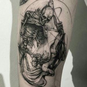 #BKTattoer @Bk_tattooer #Contemporary #Graphic #Illustrative #Sketch #Blackwork #Skeleton #Girl
