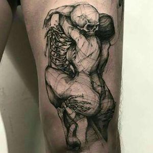 #BKTattooer @Bk_tattooer #Contemporary #Graphic #Illustraive #Sketch #Blackwork #Skeleton #Girl
