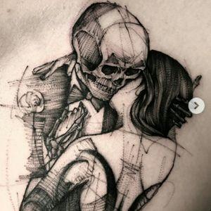 #BKTattooer @Bk_tattooer #Contemporary #Graphic #Illustrative #Sketch #Blackwork #Skeleton #Girl