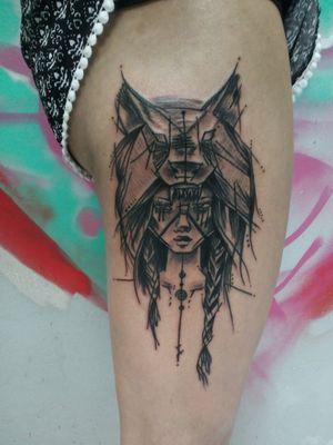 Warrior #spiritanimal #wolf #sketchtattoo #hip #hiptattoo