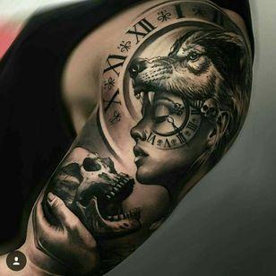 #wolf #blackandgrey #skull #lady #clock
