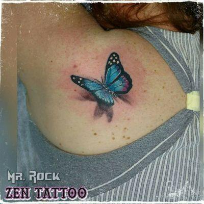 Zen Tattoo - Borboleta 3D. #zentattoo #mrrock #oblogdozen #borboleta #buttlerfly #3d #tatuagem3d #tattoo #tatuagem #tatuaje #tatuaggio #tatouage #eletricink #everlastcolors #instattoo #inklife #inklovers #ink #inked #taquaritinga #taqua