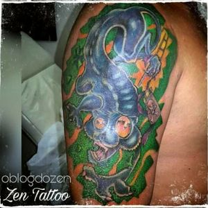 Zen Tattoo - Gato New School. #cat #gato #newschool #tattoo #tatuaje #tatuagem #zentattoo #mrrock #oblogdozen #taquaritinga #taqua #eletricink #everlastcolors #instattoo #inklovers #inked