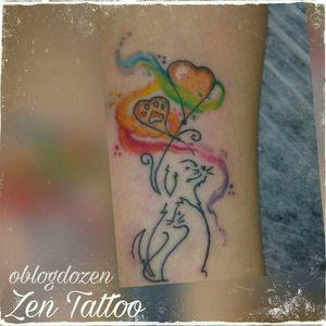 Zen Tattoo - Cachorro e gato. #zentattoo #mrrock #oblogdozen #taquaritinga #taqua #instattoo #instadog #instacat #doglovers #catlovers #cachorro #gato #dog #cat #watercolortattoo #watercolor #eletricink #everlastcolors #inked #tattoo #tatuagem #tatuaje #aquarela #tatuagensfemininas