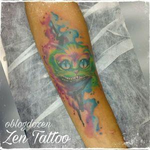 Zen Tattoo - Gato da Alice. #alice #alicethroughtthemirrors #aliceinwonderland #gato #cat #zen #zentattoo #tattoo #tatuagem #tatuaje #mrrock #oblogdozen #ink #inked #eletricink #everlastcolors #taquaritinga #taqua #watercolor #aquarela #watercolortattoo #instattoo