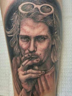 #blackandgrey #portrait of #kurtcobain above Jackie's ankle
